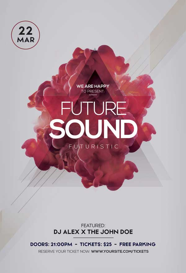Future Sound Party Free Electro Flyer Template