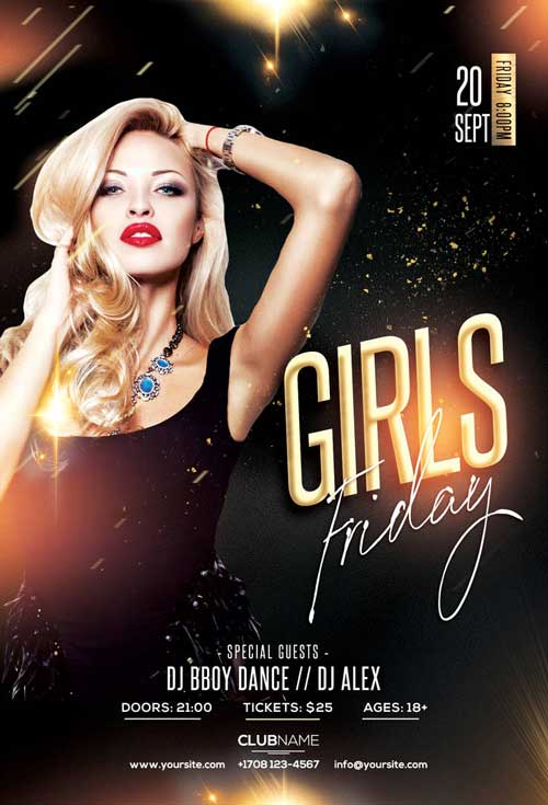 Girls Friday Free Club Flyer Template