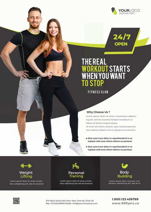 Gym And Fitnesss Free Flyer Template
