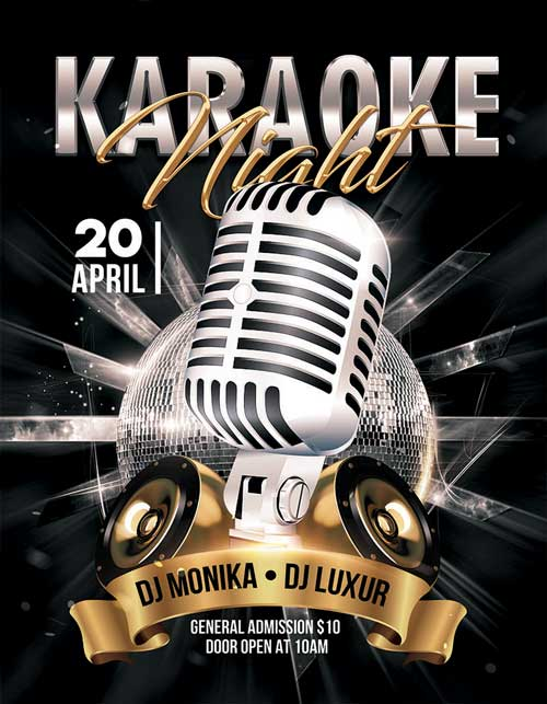 Karaoke Bar Night Free Flyer Template