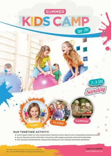 Kids Summer Camp Free Poster Template