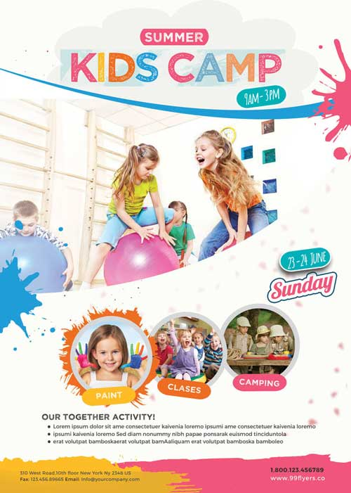 Kids Summer Camp Free Poster Template Download Psd