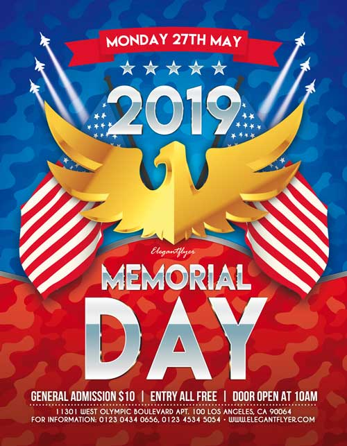 Memorial Day 2019 Free Party Flyer Template