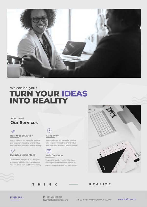 Minimal Corporate Free Flyer and Poster Template