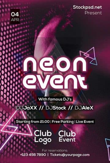 Neon DJ Event Free Flyer Template