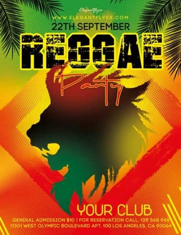 Reggae Party Event Free Flyer Template