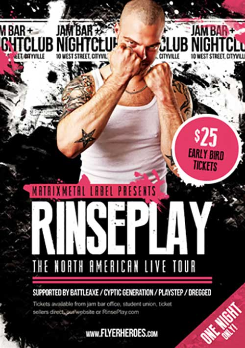 Rinseplay Free Rock Band Flyer Template