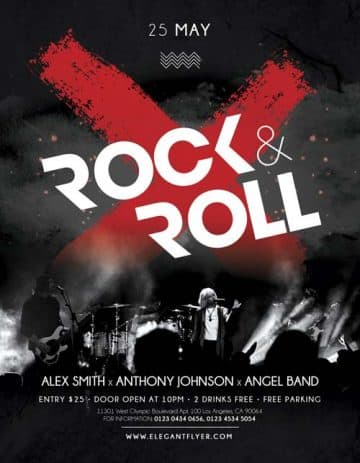 Rock 'n' Roll Night Free Flyer Template