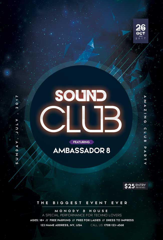 Sound Club Free PSD Flyer Template