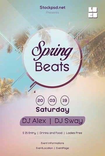 Spring Beats Free Flyer Template