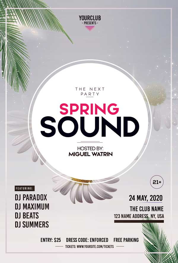 Spring Sound Party Free PSD Flyer Template
