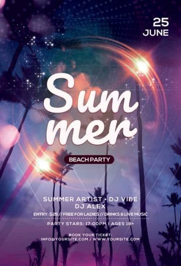 Summer Beach Nights Free Flyer Template