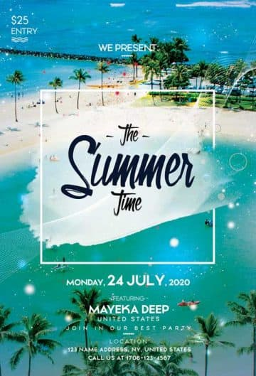 Summer Beach Time Free Party Flyer Template