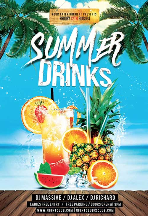 Summer Cocktail Free Flyer Template