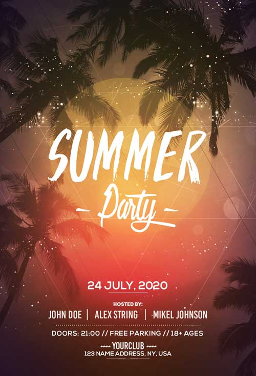 Summer Day Free Club Flyer Template