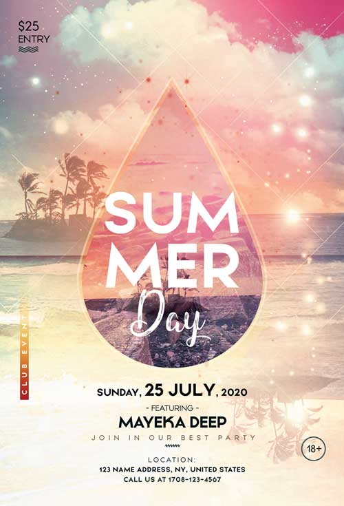 Summer Day Free Party Flyer Template