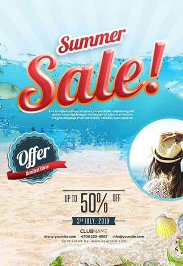 Summer Fashion Sale Free PSD Flyer Template