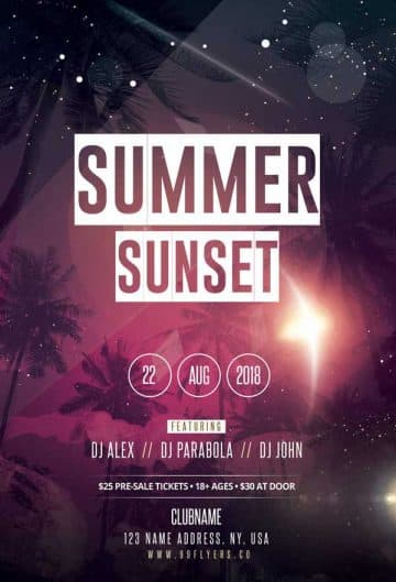 Summer Sunset Free Party Flyer Template