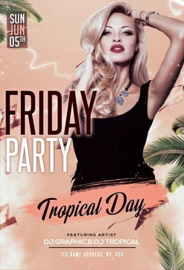 Tropical Friday Party Free Flyer Template