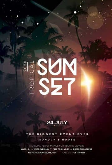 Tropical Sunset Free Party Flyer Template