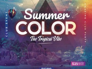 Tropical Vibe Summer Party Free Flyer Template