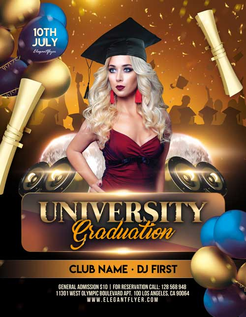 University Graduation Free PSD Flyer Template