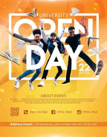University Open Day Free Flyer Template