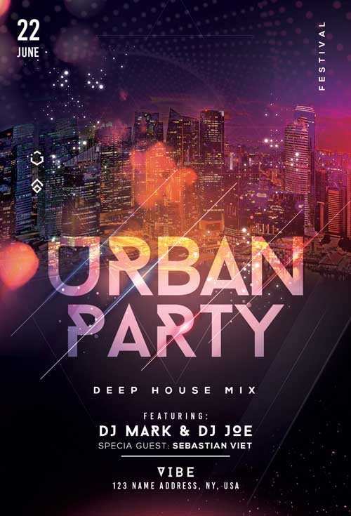 Urban City Nights Free Flyer Template