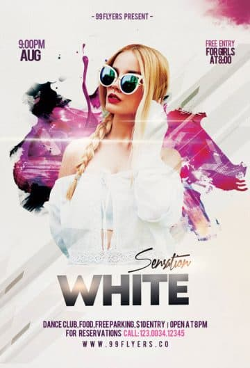 White Sensation Party Free Flyer Template