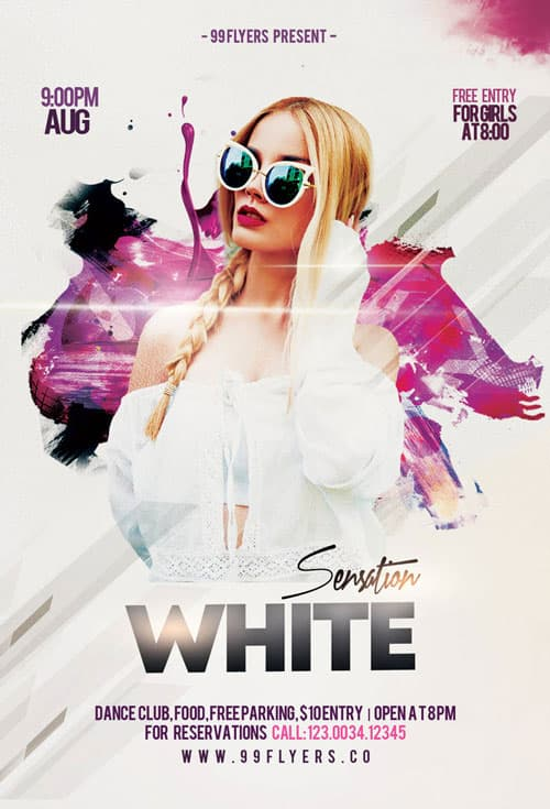 White Sensation Party Free Flyer Template