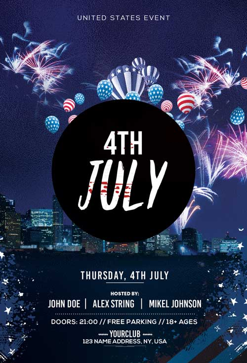 4th Of July Free Party Flyer Template Freebie Freepsdflyer