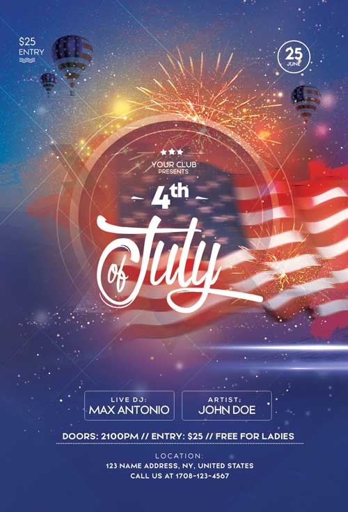 4th Of July Party Free Flyer Template Freebie Freepsdflyer