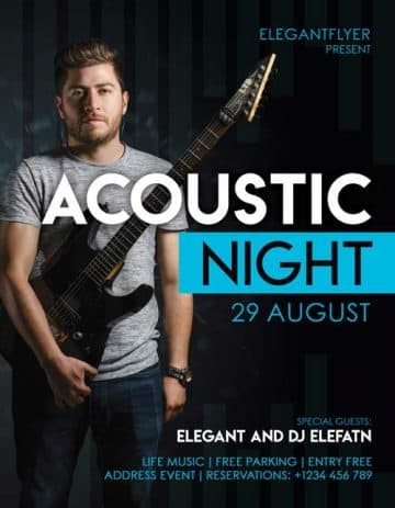 Acoustic Night Music Free Flyer Template