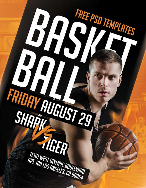 Basketball Match Free Sport PSD Flyer Template