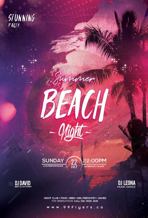 Beach Night Party Free Flyer Template