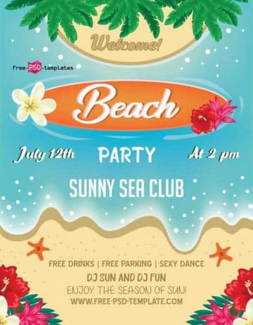 Beach Summer Free Party Flyer PSD Template