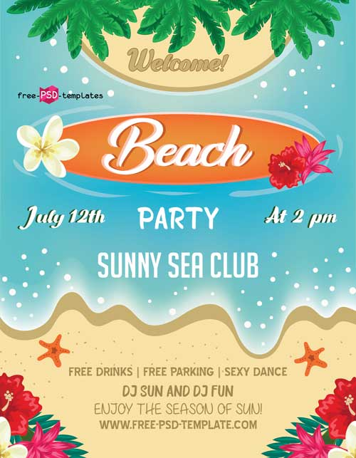 Beach Summer Free Party Flyer PSD Template