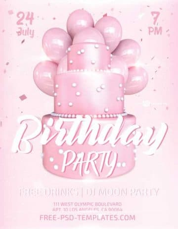 Birthday Cake Party Free PSD Flyer Template