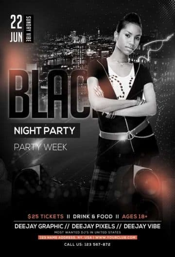 Black Nights Party Free Flyer Template