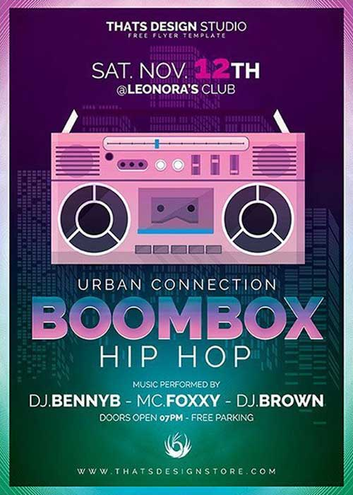 Boombox Hip Hop Free Flyer Template