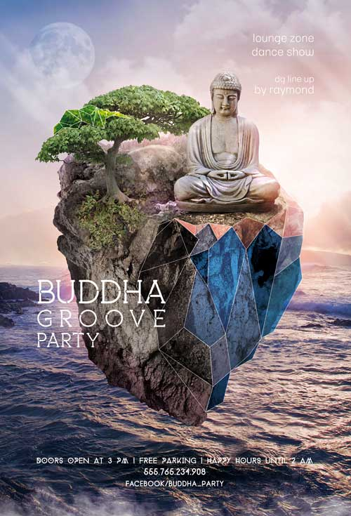 Buddha Groove Party Free Flyer Template