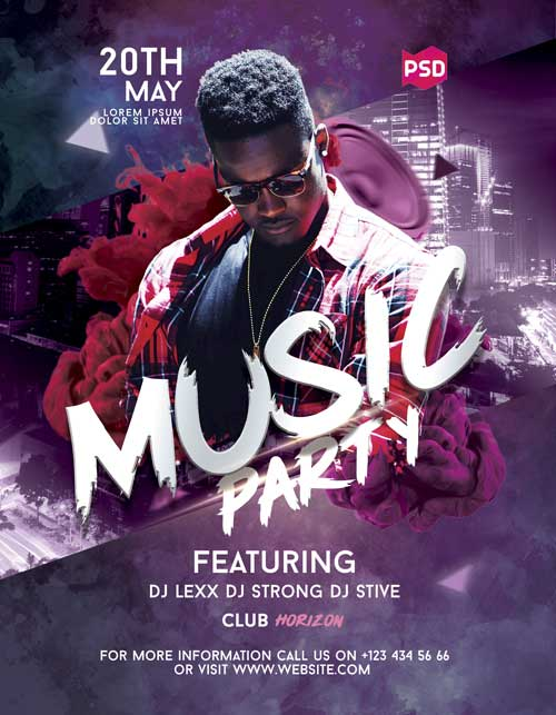 DJ Music Party Free PSD Flyer Template