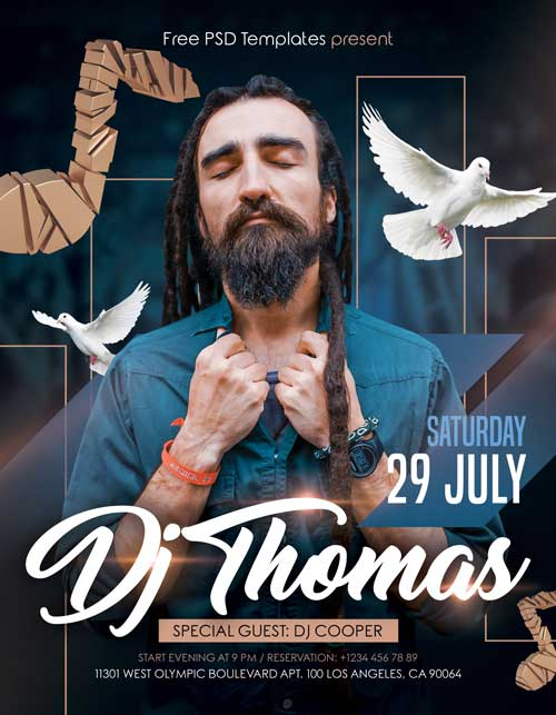 DJ Thomas Free Flyer PSD Template