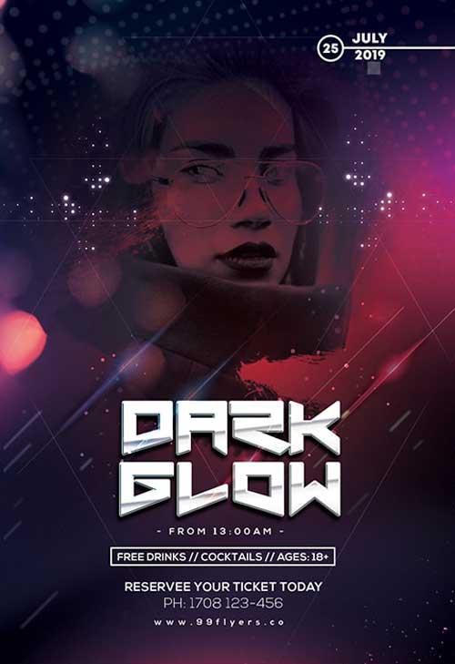 Dark Glow Party Free PSD Flyer Template