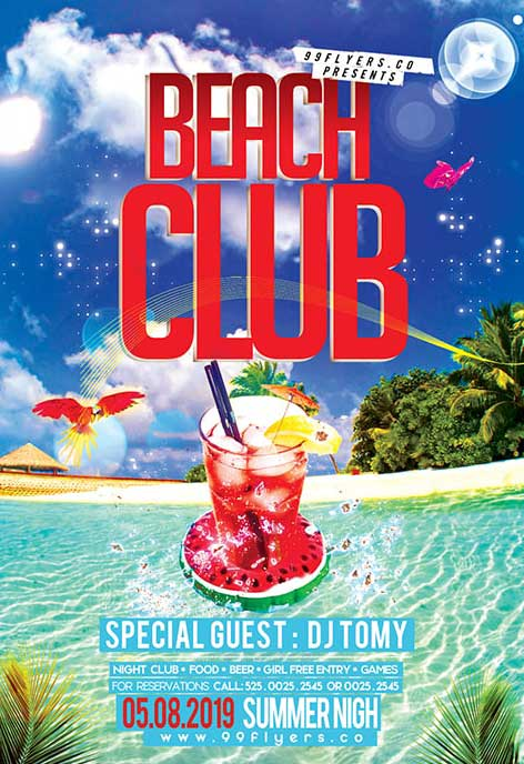 Exotic Beach Cocktail Party Free Flyer Template