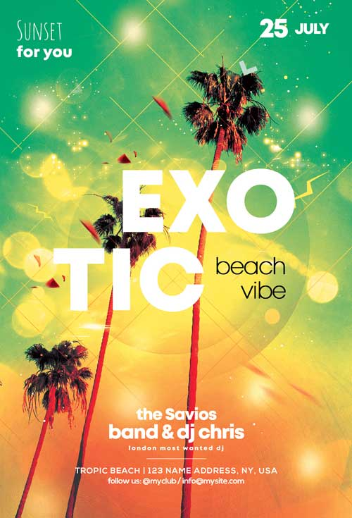 Exotic Summer Day Party Free Flyer Template