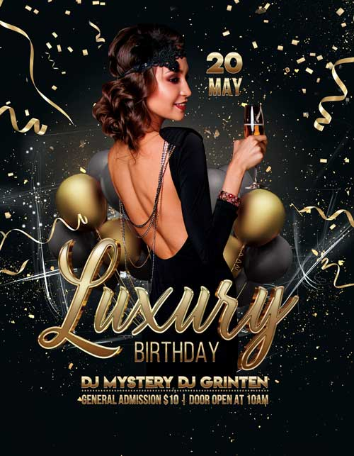 Free Luxury Birthday Party Flyer Template