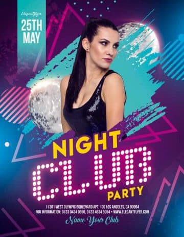 Free Night Club Party Flyer PSD Template