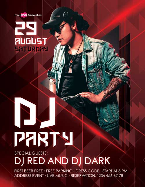 Free Red DJ Flyer PSD Template