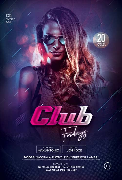 Friday Club Party Free Flyer Template